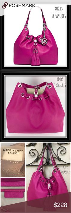 "Michael Kors Fuchsia Camden Leather Shoulder Bag Michael Kors Fuchsia Leather Camden  Large  Drawstring Shoulder Bag Like New ~ Paid $398 + Tax Carried 1 Week ~ To Big for Me! Gorgeous Color & the Leather is so Soft & Luxurious! Details: Material: Leather Color: Fuchsia Silver Tone Hardware MK Hanging Logo Circle Charm Magnetic Snap Closure Leather Drawstring with Tassels Interior: Beige MK Signature Lining 1 Zip & 4 Slip Pockets Dust Bag included Dual Straps with a 9.5"" Drop Measures…"