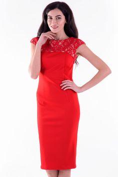 Rochie Rina Rosu Dantela – Karla.Club One Shoulder, Club, Formal Dresses, Fashion, Moda, Formal Gowns, La Mode, Black Tie Dresses, Fasion