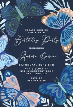 Blue Butterflies - Birthday Invitation #invitations #printable #diy #template #birthday #party