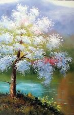 Cherry Blossom Tree White Pink Flowers By River Washington 24X36 Oil Painting