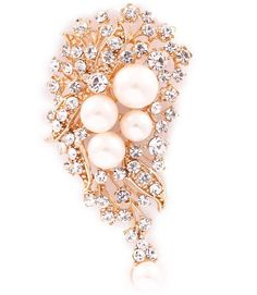 gold crystal pearl bead ladies womens fashion dress brooch | 14498 | £11.95