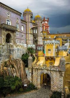 Pena Palace, Sintra, Portugal - my favourite castle, a piece of art; it served as a summer retreat for Portegese monarchs in and century. Sintra Portugal, Spain And Portugal, Portugal Travel, Visit Portugal, Places Around The World, Oh The Places You'll Go, Places To Travel, Places To Visit, Wonderful Places