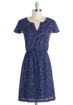 Flower of Need Dress by Kensie - Mid-length, Woven, Blue, Black, Floral, Casual, A-line, Cap Sleeves