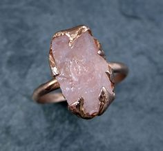 Raw Rough Morganite 14k Rose gold Ring Gold Pink Gemstone Cocktail Ring Statement Ring Raw gemstone Jewelry byAngeline