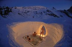 Outdoor jacuzzi , part of the Igloo Village, 'Iglu-Dorf', in Zermat. The villages are rebuilt every year in six location on the Alps and Pyrenees. The iglo villages are open every year from 25th December.
