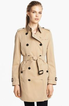 $1,495, Double Breasted Cotton Trench 16 by Burberry London. Sold by Nordstrom. Click for more info: http://lookastic.com/women/shop_items/75465/redirect