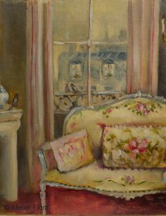 Parisian interior - (Detail) View over the roof tops -Original Oil Painting Helen Flont