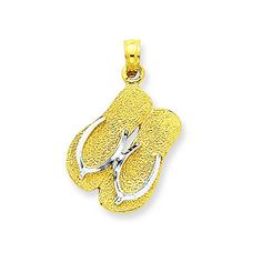 14k  Rhodium Large Double FlipFlop Pendant *** Continue to the product at the image link. #Xmasjewelry