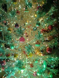 Old Silver Christmas Tree With Color Wheel