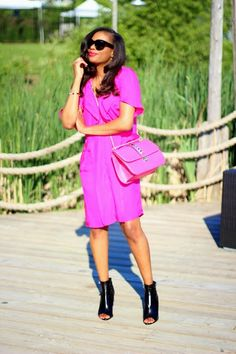 Love a bold pink dress and bag
