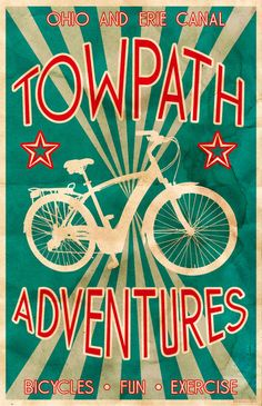 """""""Towpath Adventures"""" by Bili Kribbs. Cool graphic with bike and kinda 50's style motif."""