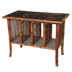 "English Chinoiserie console with Japanned top and bamboo frame the 19th century Height 33"" Width 42 Deep 23"""