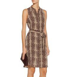 NWT EQUIPMENT Claudia Nude Coffee Print Sleeveless Silk Shirt Dress S Small #EQUIPMENT #ShirtDress #Casual