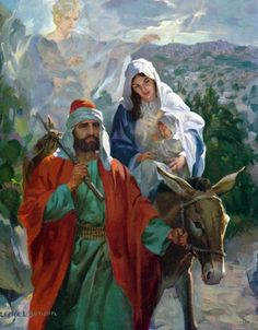 Jesus, Joseph and Mary - The journey to Egypt. Bible Pictures, Jesus Pictures, Religious Images, Religious Art, Jesus Jose Y Maria, Christian Pictures, Biblical Art, The Good Shepherd, Catholic Art