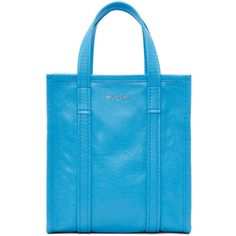Balenciaga Blue Bazar Shopper XS AJ Tote (€990) ❤ liked on Polyvore featuring bags, handbags, tote bags, blue, balenciaga tote, zip tote, blue tote bag, shopper tote bag and blue handbags
