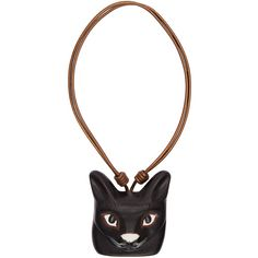 Loewe Black Cat Face Necklace ($700) ❤ liked on Polyvore featuring jewelry, necklaces, black, leather cord necklace, cat necklace, pendant necklace, loewe and cat pendant jewelry