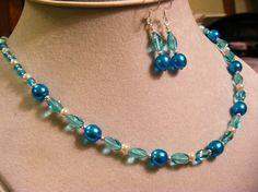 Turquoise beaded necklace and earring set by KathysGlassGalore, $10.95