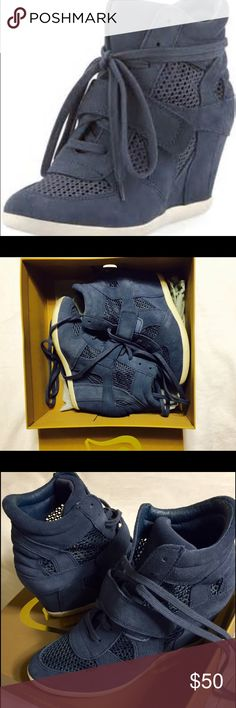 """ASH Bowie Mesh/Suede Sneaker Wedge, Navy. 37! Ash suede sneaker heel! 3 1/4"""" wedge heel; 1/2"""" pump. Lace-up front with a strap. Round toe. Mesh lining. Only worn twice! Size 37/7 Ash Shoes Wedges"""