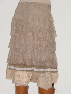 Shabby Chic Skirt antique beigebrown vintage laces by Gondalicious, $110.00