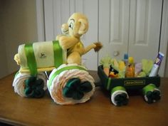 John Deere Tractor Diaper Cake for Baby Shower | Baby Shower Ideas