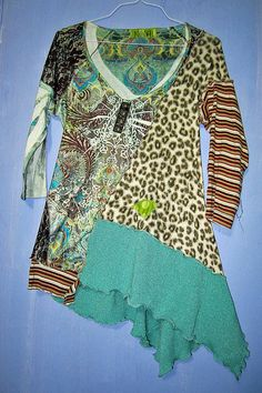 Upcycled recycled eco friendly Leopard and Turquoise by monapaints, $169.32
