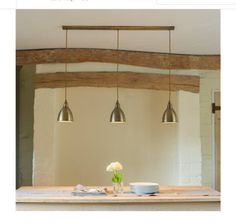 Shop our stunning nickel Barbican 3 lamp ceiling bar light, with LED bulbs from UK range of modern & vintage industrial track lighting pendants for your kitchen table, island unit or breakfast bar. Industrial Track Lighting, Pendant Track Lighting, Kitchen Pendant Lighting, Kitchen Pendants, Antique Lighting, Bar Lighting, Lighting Ideas, How To Clean Brass, Timber Roof