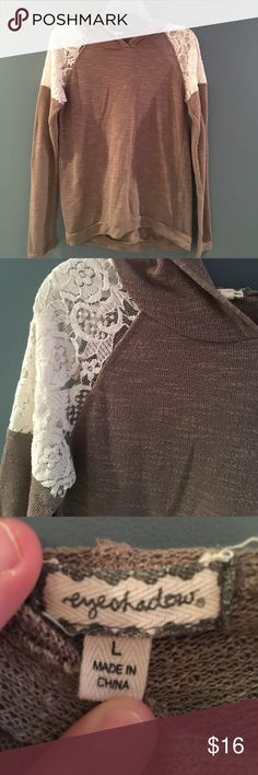 Light weight hoodie with lace. Brown and cream Light weight hoodie with lace. Brown and cream. Size small. So comfy. Fits more like a Medium Tops