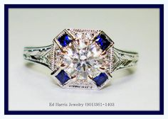 Diamond, Sapphire, and white gold - also available in Platinum, rose gold, and yellow gold (14k or 18k) Call Ed Harris Jewelry at (901)361-1403 for pricing and information.