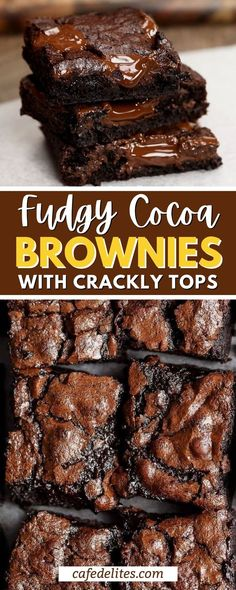 You just need one bowl and 5 minutes to make the BEST fudgy cocoa brownies you've ever eaten! These brownies come out with a perfect texture due to one additional ingredient that gives these brownies a super fudgy center without losing that crispy, crackly top! Cocoa Brownies, Rich Brownies Recipe, Best Brownies, Brownie Recipes, Cheesecake Recipes, Chocolate Recipes, Best Dessert Recipes, Easy Desserts, Real Food Recipes