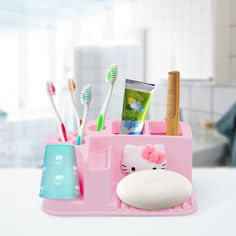 Cheap hello kitty toothbrush holder, Buy Quality toothbrush holder directly from China bathroom accessories Suppliers: Keythemelife Bathroom Accessories Practical Hello Kitty Toothbrush Holder Family Style Toothbrush Holder Storage Rack Set Pink Hello Kitty, Hello Kitty Items, Hello Kitty Bathroom, Princess Kitty, Pink Princess, Diy Bathroom Remodel, Bathroom Ideas, Bathroom Stuff, Bathroom Plants