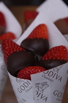 Godiva Chocolate Strawberries -- Love the presentation and that the strawberries are dipped on the top part! Much easier and cleaner to grab!