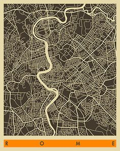 Rome map by Jazzberry Blue Urban Mapping, Rome Map, Graphisches Design, Abstract City, City Maps, Grafik Design, Photo Wallpaper, Wall Murals, Art Prints