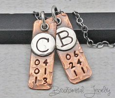 Personalized Initial and Date Necklace Hand by BrooksmetalJewelry