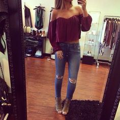 Super cute spring fall outfit off shoulder top burgundy