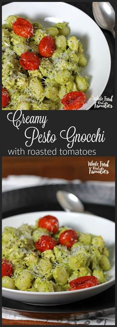 Creamy Avocado Pesto Gnocchi with Roasted Tomatoes is delicious and crazy fast. Perfect for when you are pressed for time but still want to get a real, nourishing meal on the table for your family. @wholefoodrealfa