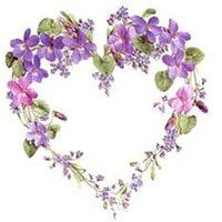 """Violet heart ~ No link, no pattern, but this brings up a slew of """"Related Pins"""" which may be helpful. Vintage Diy, Vintage Images, Illustration Blume, Sweet Violets, Pressed Flower Art, One Stroke Painting, I Love Heart, Flower Crafts, Vintage Flowers"""