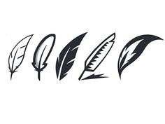 Logo Variations Some variations of quill/feather symbols for a logo requested by a client.Some variations of quill/feather symbols for a logo requested by a client. Logo Design, Branding Design, Tattoo Plume, Feather Symbolism, Feather Icon, Ink Logo, Logos, Tattoo Graphic, Unique Logo