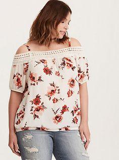 Plus Size Floral Print Georgette Lace Cold Shoulder Top,