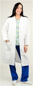 """ASPCA 43"""" Unisex Consultation Scrub Coat 9243  ASPCA 43"""" Unisex Consultation Scrub Coat    Structured unisex fit, features two interior pockets, two exterior pockets, and chest pocket. Dual side entry.  Fabric: 65/35 Poly/Cotton Twill  Sizes: XS -3XL  Colors: White    $27.90 #scrubcouture #aspca #scrubs #nurses"""