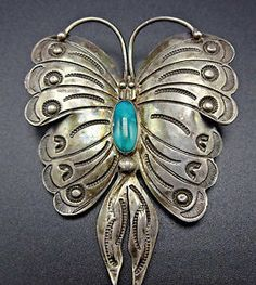 Vintage Navajo Hand Stamped Sterling Silver Turquoise Butterfly Pin Brooch | eBay