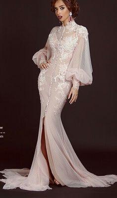 Long Sleeves Muslim Evening Dresses 2017 Appliques Tulle Dubai Arabic Arabian High Neck Mermaid Zipper Back Party Gowns(China (Mainland)) Formal Dresses For Women, Elegant Dresses, Beautiful Dresses, Prom Dresses 2016, Bridal Dresses, Lace Dresses, Long Sleeve Evening Dresses, Evening Gowns, Style Fête