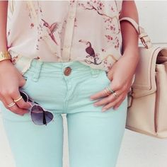 Blue jeans and printed shirt