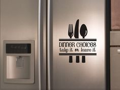 Kitchen Quote Wall Decal Dinner Choices Take It Or Leave It with silverware