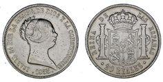 20 SILVER REALES / PLATA. ISABELLA II - ISABEL II. MADRID 1855. VF+/MBC+.