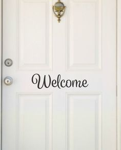 Welcome Decal Front Door Decal Front Door Lettering Entryway Decal Welcome Vinyl Welcome Door Decor Front