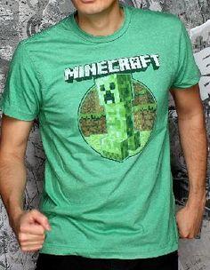 Minecraft Retro Creeper Adult Large Premium  T-Shirt *FREE SHIPPING*