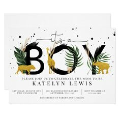 Baby Shower Decorations For Boys, Boy Baby Shower Themes, Baby Shower Invitations For Boys, Baby Boy Shower, Baby Showers, Jungle Theme Baby Shower, Virtual Baby Shower, Shower Ideas, Gold