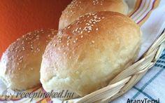 Burgonyás szendvics zsemle recept fotóval Hungarian Recipes, Bagel, Hamburger, Bread, Food, Products, Meal, Brot, Eten