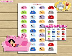 Chic Lazy day Printable Planner stickers Cute Print by designby2