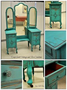 The Shabby Chic décor style popularized by Rachel Ashwell and Arhaus seeks to have an opulent vintage look. Shabby Chic furniture is given a distressed look by covered in sanded milk paint. The whole décor style has an intriguing flea market look. Distressed Furniture, Funky Furniture, Colorful Furniture, Paint Furniture, Shabby Chic Furniture, Antique Furniture, Furniture Ideas, Furniture Stores, Furniture Vanity